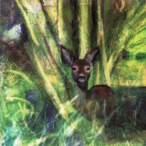 Woodland Deer (illuminated giclee print)