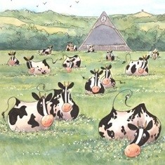 Greenfield 'cowtoon' print