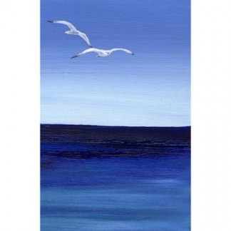 Soaring Seagulls Over Surf