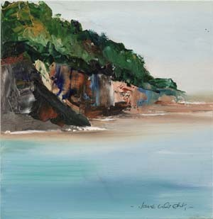 "Porthpean - giclee print on canvas 6"" x 6"""