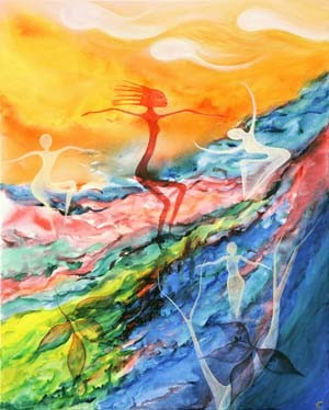 """Spirit Dance"" Acrylic painting 24"" x 30"""