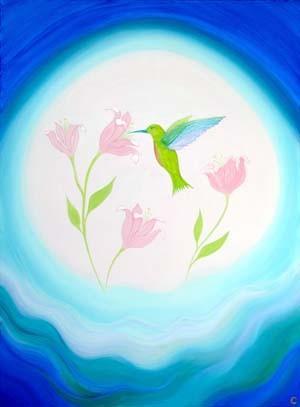 """Hummingbird of Eden"" 30"" x 40"" Acrylic on canvas"