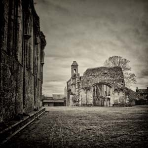 "The Great West Door of Glastonbury Abbey - Limited Edition Print 40"" x 40"""