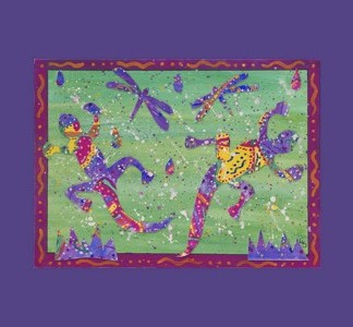 Geckos and Dragonflies giclee print