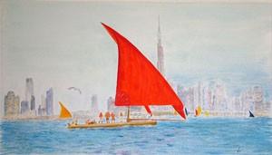 Dhow Sailing in Dubai - giclee print