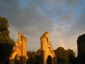 Evening Light in Glastonbury Abbey - Giclee Print