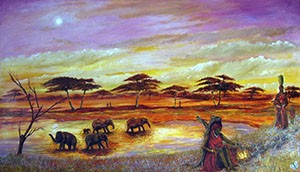 African Water Hole - Giclee Print