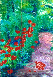 Garden Poppies (I), original acrylic