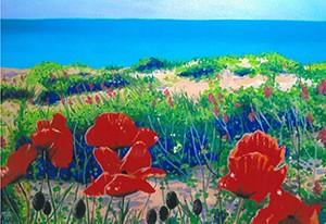 Poppies on the Beach, original acrylic